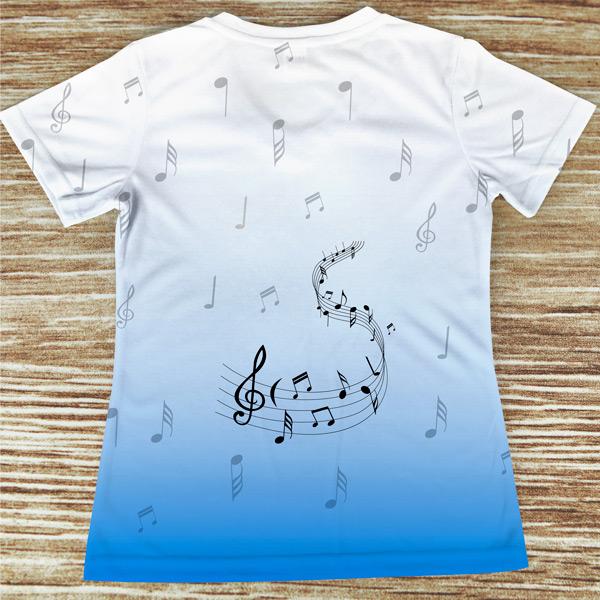 T-shirt profissão/curso Música costas