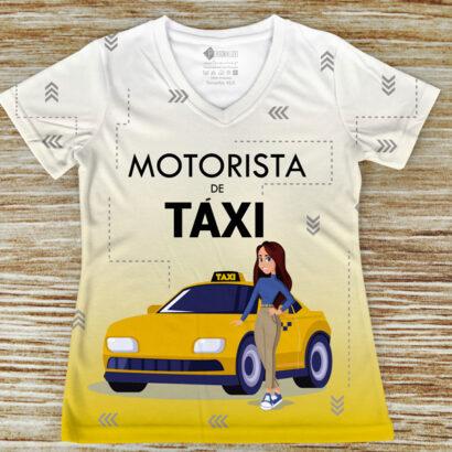 T-shirt profissão/curso Motorista de Táxi amarela