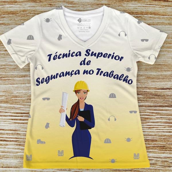 T-shirt profissão/curso Técnica Superior de Segurança no Trabalho amarela