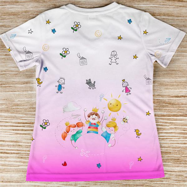 T-shirt profissão/curso Educadora de Infância rosa costas