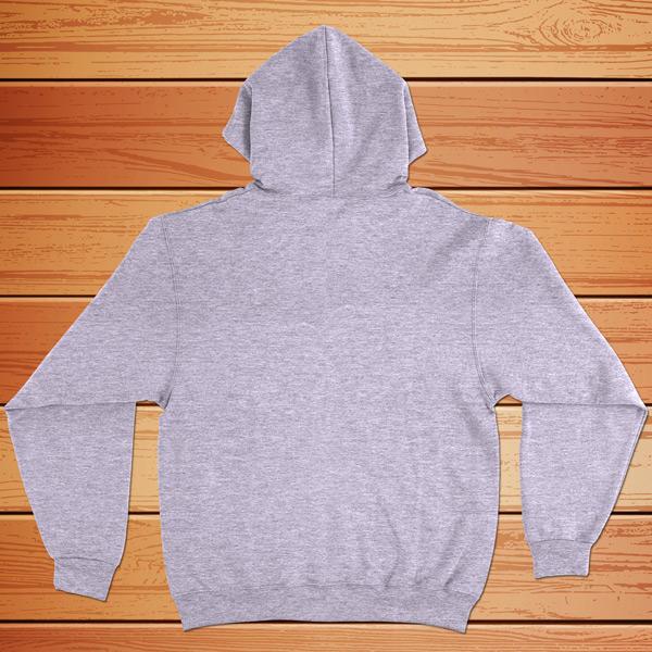 sweatshirt com capuz cinza - costas