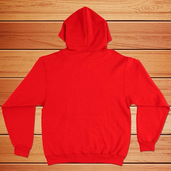 Sweatshirt com capuz vermelho - Costas