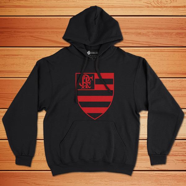 Moletom Flamengo Sweatshirt com capuz Unisex preto vermelho