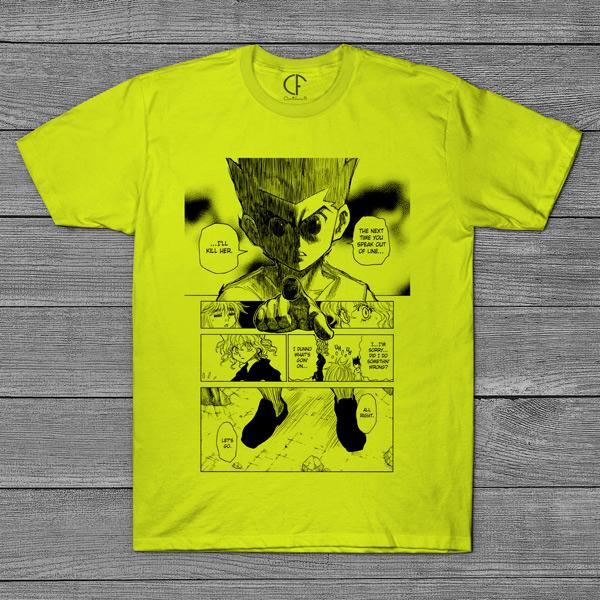 T-shirt Gon e Neferpitou Hunter x Hunter página mangá