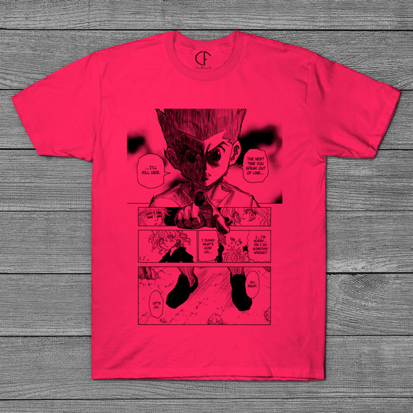 T-shirt Gon e Neferpitou Hunter x Hunter página mangá rosa