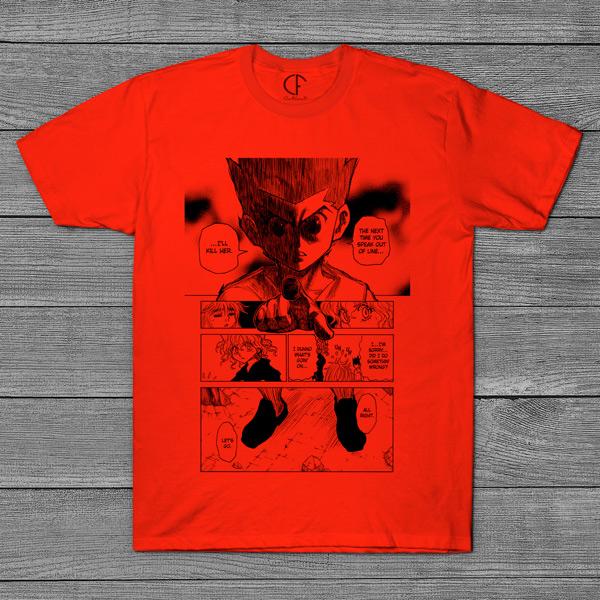 T-shirt Gon e Neferpitou Hunter x Hunter página mangá laranja