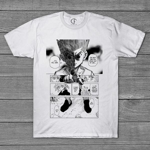 T-shirt Gon e Neferpitou Hunter x Hunter página mangá comprar