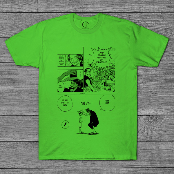T-shirt Shanks e Luffy One Piece página mangá comprar