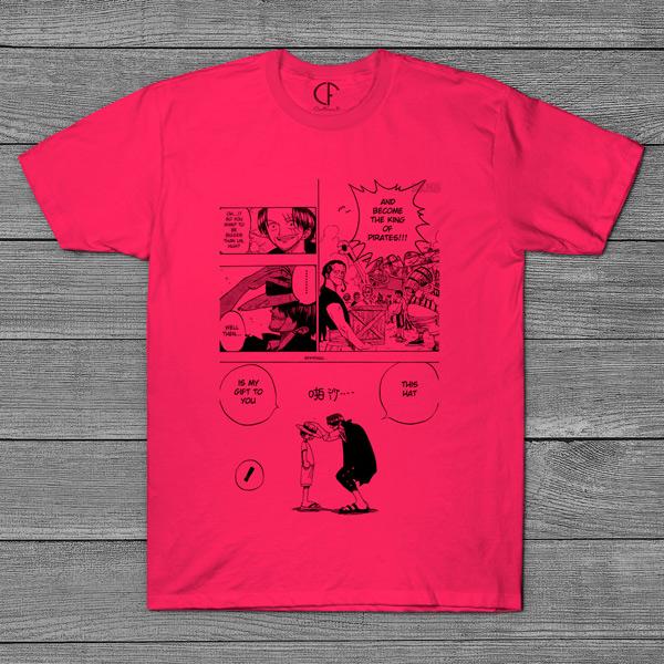 T-shirt Shanks e Luffy One Piece página mangá rosa