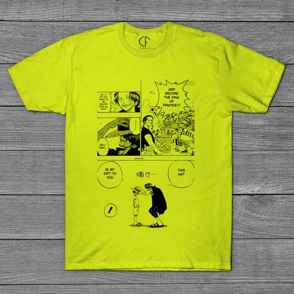 T-shirt Shanks e Luffy One Piece página mangá preço
