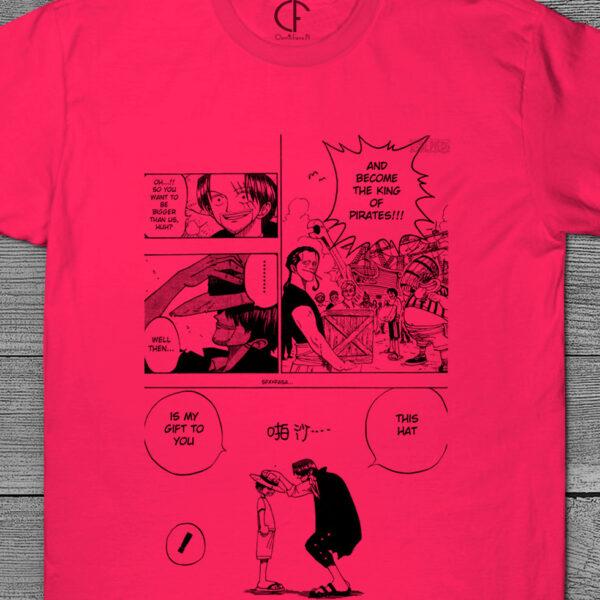 T-shirt Shanks e Luffy One Piece página mangá