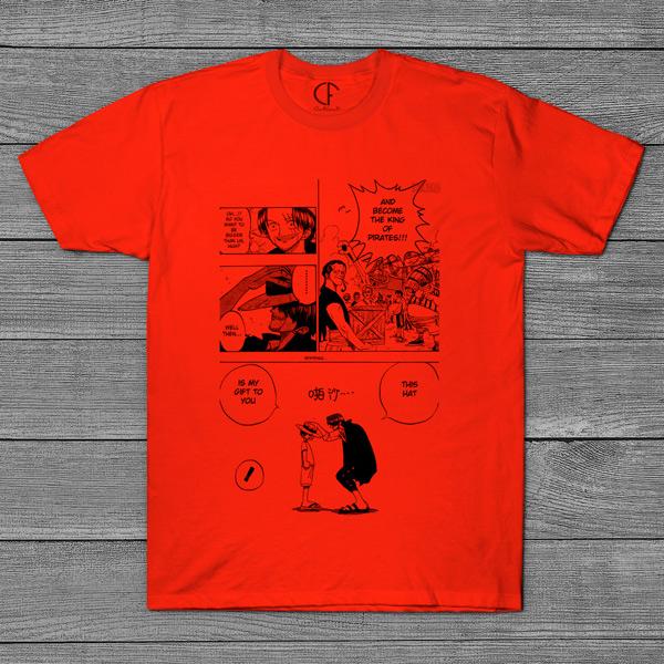 T-shirt Shanks e Luffy One Piece página mangá laranja