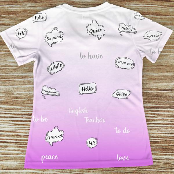 T-shirt profissão/curso Professora de Inglês costas rosa