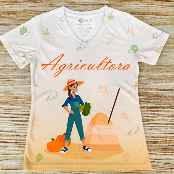 T-shirt profissão/curso Agricultora laranja