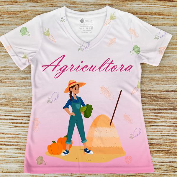 T-shirt profissão/curso Agricultora rosa