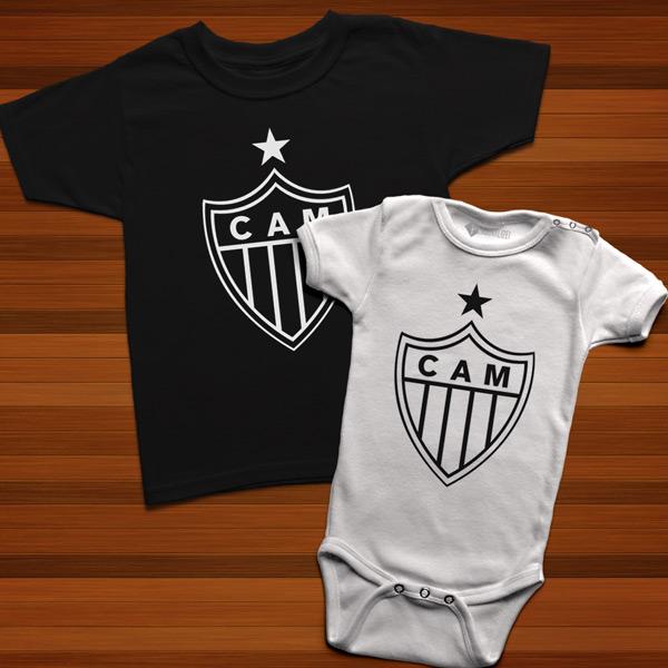 T-shirt/Body Atlético Mineiro para bebé e criança branco e preto