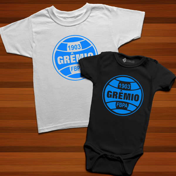 T-shirt/Body Grêmio para bebé e criança branco e preto
