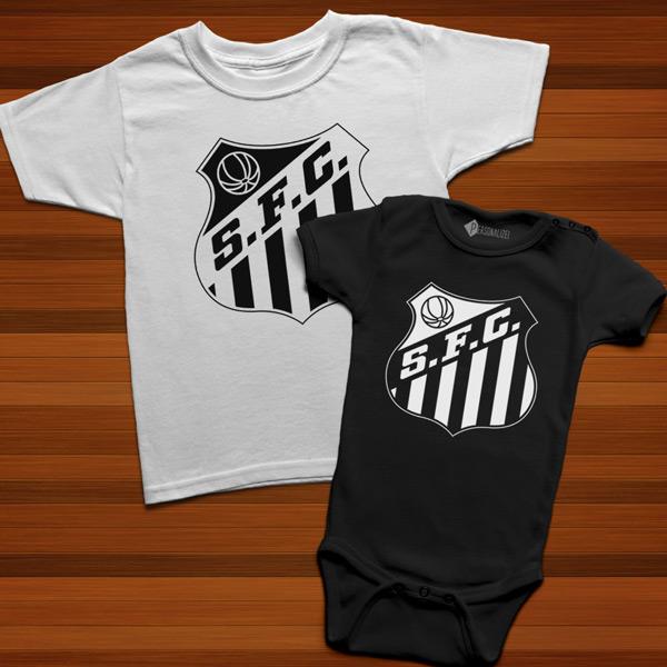 T-shirt/Body Santos FC para bebé e criança preto e branco