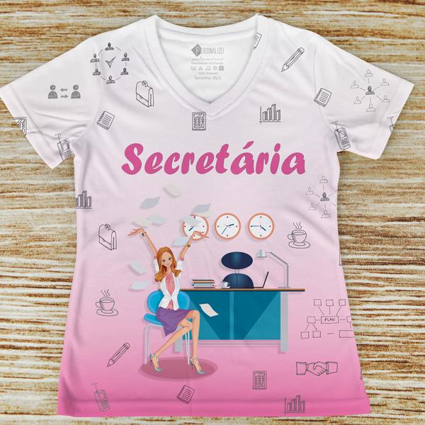 T-shirt profissão/curso Secretária feminina