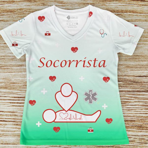 T-shirt profissão/curso Socorrista Verde